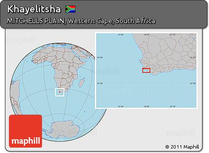 Free Gray Location Map of Khayelitsha
