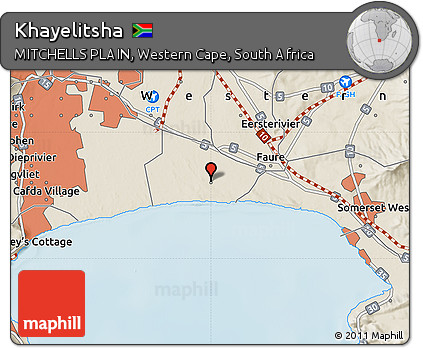 Free Shaded Relief Map of Khayelitsha
