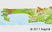 "Physical Panoramic Map of the area around 34° 10' 16"" S, 18° 46' 29"" E"