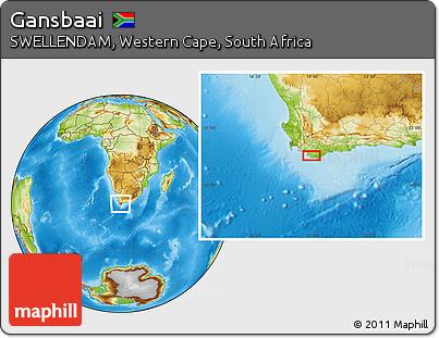 Gansbaai South Africa Map.Free Physical Location Map Of Gansbaai