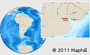 """Shaded Relief Location Map of the area around 34°38'13""""S,58°34'30""""W"""