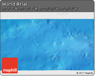 """Shaded Relief 3D Map of the Area around 35°24'37""""N,10°7'30""""W"""