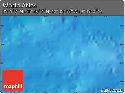 """Shaded Relief Map of the Area around 35°24'37""""N,10°7'30""""W"""