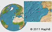 """Satellite Location Map of the area around 35°24'37""""N,10°58'29""""W"""