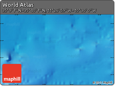 """Shaded Relief Map of the Area around 35°24'37""""N,10°58'29""""W"""