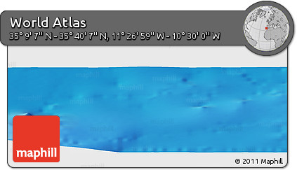"""Shaded Relief Panoramic Map of the Area around 35°24'37""""N,10°58'29""""W"""