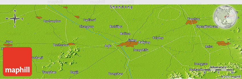 Physical Panoramic Map Of Jining - Jining map