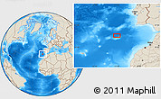 """Shaded Relief Location Map of the area around 35°24'37""""N,11°49'29""""W"""