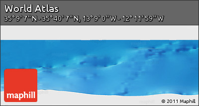 """Shaded Relief Panoramic Map of the Area around 35°24'37""""N,12°40'30""""W"""