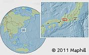 Savanna Style Location Map of Gifu, hill shading