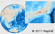 Shaded Relief Location Map of Gifu