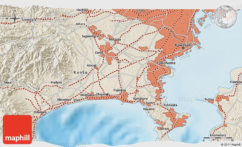 Shaded Relief D Map Of Ueki - Japan map ueki