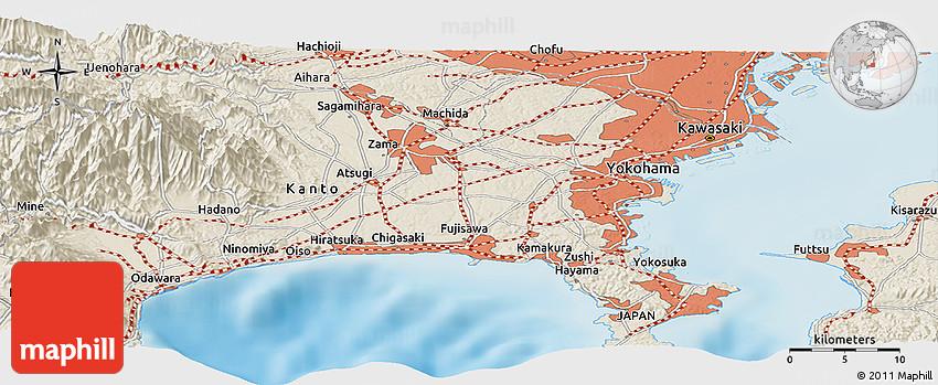 Shaded Relief Panoramic Map Of Ueki - Japan map ueki