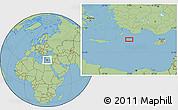 "Savanna Style Location Map of the area around 35°24'37""N,28°58'30""E"