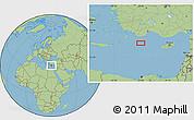 "Savanna Style Location Map of the area around 35°24'37""N,29°49'30""E"