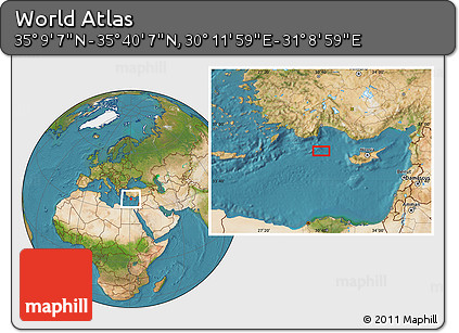 """Satellite Location Map of the Area around 35°24'37""""N,30°40'29""""E"""