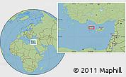 "Savanna Style Location Map of the area around 35°24'37""N,31°31'29""E"