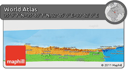 """Political Panoramic Map of the Area around 35°24'37""""N,33°13'30""""E"""