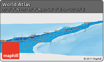 """Political Panoramic Map of the Area around 35°24'37""""N,34°4'30""""E"""
