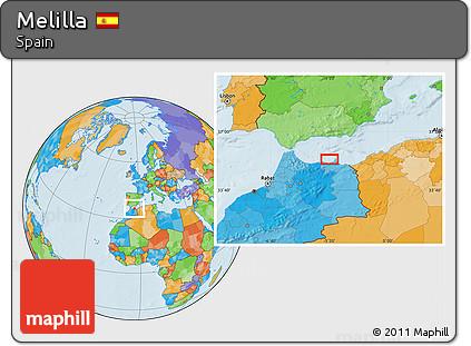 Melilla Spain Map.Free Political Location Map Of Melilla