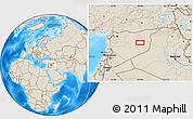 Shaded Relief Location Map of Dayr az Zawr