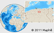 Shaded Relief Location Map of Aït Sidi Ahmed Ou Ali