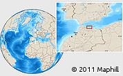 Shaded Relief Location Map of Al Hoceïma