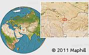 Satellite Location Map of Chenārak (2)