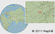 Savanna Style Location Map of `Alā od Dīn, hill shading