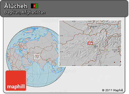 Gray Location Map of Ālūcheh, hill shading