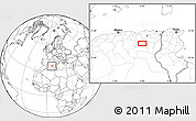 """Blank Location Map of the area around 35°24'37""""N,6°1'30""""E"""