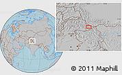 Gray Location Map of Khorkondus, hill shading