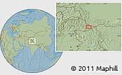 Savanna Style Location Map of Khorkondus, hill shading