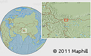"""Savanna Style Location Map of the area around 35°24'37""""N,79°7'30""""E, hill shading"""