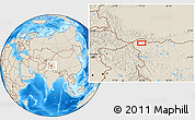 """Shaded Relief Location Map of the area around 35°24'37""""N,79°7'30""""E"""