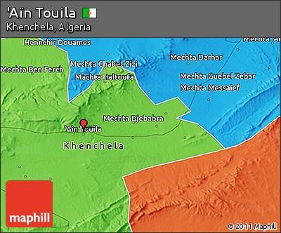 Political 3D Map of 'Aïn Touila