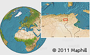 """Satellite Location Map of the area around 35°24'37""""N,7°43'29""""E"""
