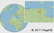 "Savanna Style Location Map of the area around 35°24'37""N,7°43'29""E"
