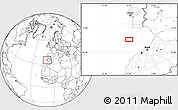 """Blank Location Map of the area around 35°24'37""""N,9°16'30""""W"""