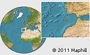 """Satellite Location Map of the area around 35°24'37""""N,9°16'30""""W"""