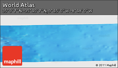 """Physical Panoramic Map of the Area around 35°24'37""""N,9°16'30""""W"""