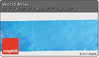 """Shaded Relief Panoramic Map of the Area around 35°24'37""""N,9°16'30""""W"""