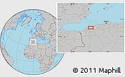 Gray Location Map of Mostaganem