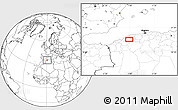 """Blank Location Map of the area around 35°52'19""""N,0°55'29""""E"""