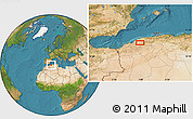 """Satellite Location Map of the area around 35°52'19""""N,0°55'29""""E"""