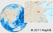 """Shaded Relief Location Map of the area around 35°52'19""""N,117°22'30""""E"""