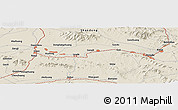 """Shaded Relief Panoramic Map of the area around 35°52'19""""N,117°22'30""""E"""