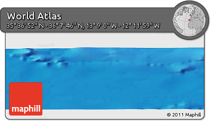"""Shaded Relief Panoramic Map of the Area around 35°52'19""""N,12°40'30""""W"""