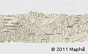 "Shaded Relief Panoramic Map of the area around 35° 52' 19"" N, 136° 55' 30"" E"