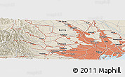 Shaded Relief Panoramic Map of Hino